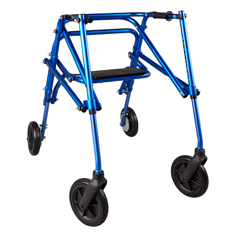 "Circle Specialty: Walking Klip 4-Wheeled - W/Seat & 8"" Outdoor Wheels - KP538 - Blue Color"