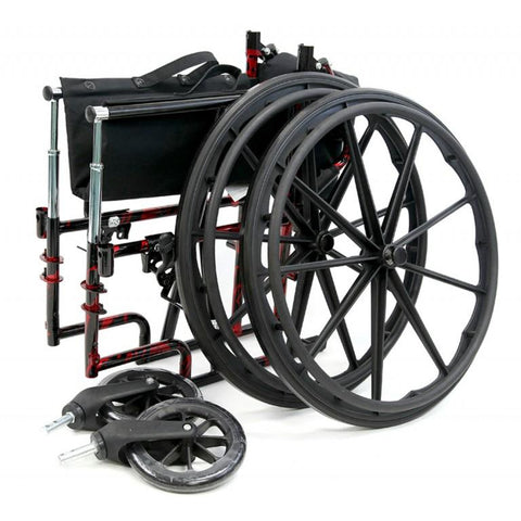 Karman Healthcare : Red Streak Lightweight Wheelchair  – LT-770Q detached