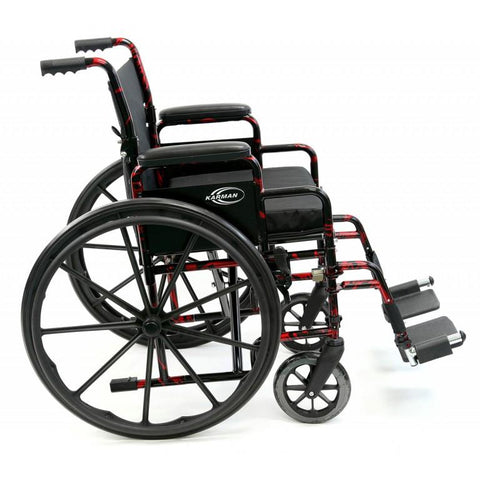 Karman Healthcare : Red Streak Lightweight Wheelchair  – LT-770Q side view