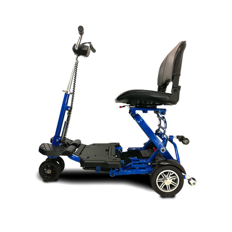 EV Rider: MiniRider Folding Transportable Mobility Scooter - T3T Blue Side View