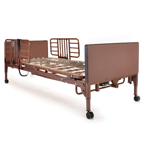 Compass Health: Probasics 3-Motor Full-Electric Bed Package w/ Probasics Low Bed Ends and Half Rails - PBFE-HR