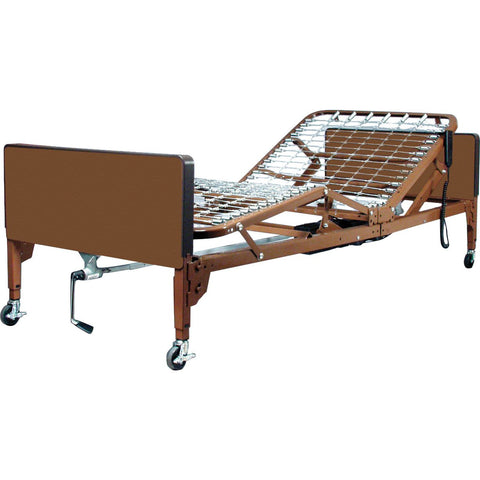 Compass Health: ProBasics Semi-Electric Bed Package with Half Rails & Fiber Core Mattress - PBSM-HRPKG