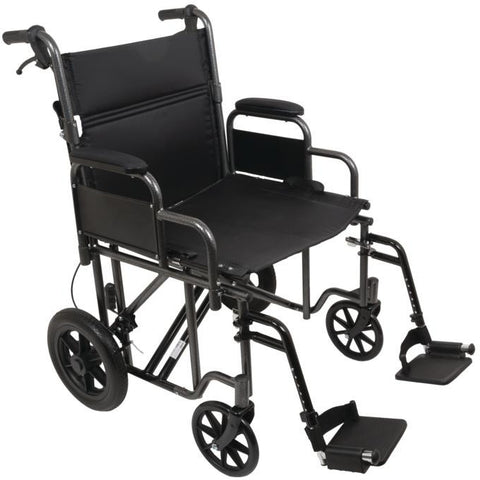 "Compass Health: ProBasics 22"" Bariatric Steel Transport Chair (Silver Vein) - TCS221612SV Main View"