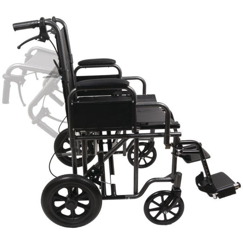 "Compass Health: ProBasics 22"" Bariatric Steel Transport Chair (Silver Vein) - TCS221612SV Movable Push Handle"