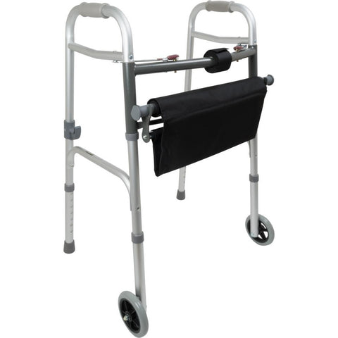 Compass Health: ProBasics Two-Button Folding Walker with Wheels and Roll-Up Seat, 300 lb Weight Capacity, 2/cs - WKAAW2BST