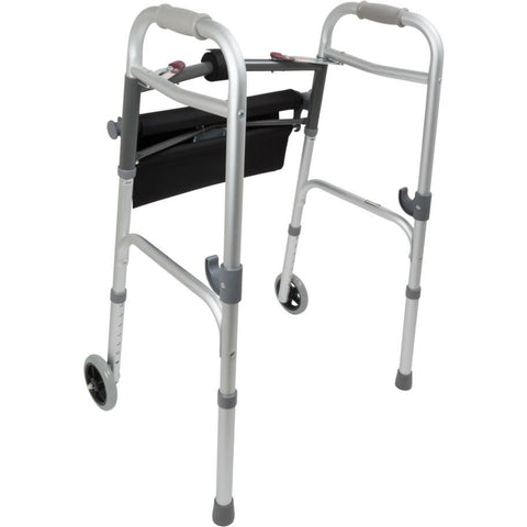 Compass Health: ProBasics Two-Button Folding Walker with Wheels and Roll-Up Seat, 300 lb Weight Capacity, 2/cs - WKAAW2BST  - Back View
