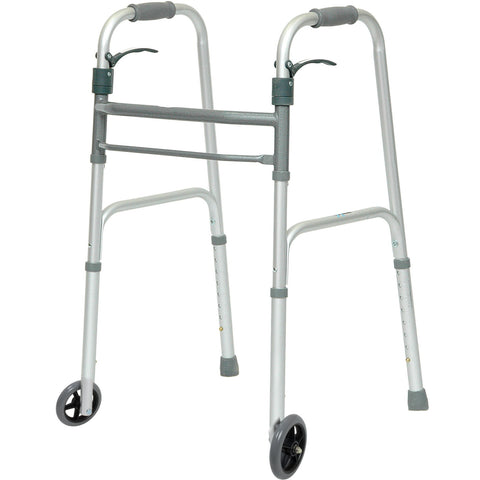 "Compass Health: ProBasics Sure Lever Release Folding Walker with 5"" Wheels, (Adult) - WKAAWSL"