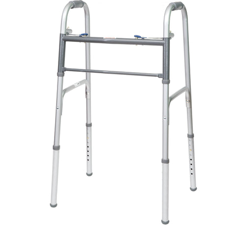 Compass Health: ProBasics Economy Two-Button Folding Steel Walker, (Adult) - WKSAN2B
