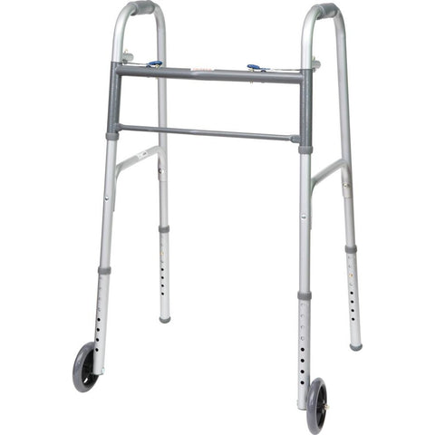 "Compass Health: ProBasics Economy Two-Button Folding Steel Walker with 5"" Wheels, (Adult) - WKSAW2B"