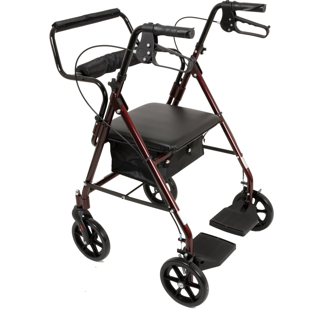 Compass Health: ProBasics Aluminum Transport Rollator with 8-inch Wheels, Burgundy Finish, 250 lb Weight Capacity - RLATBG