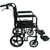 Compass Health: ProBasics Aluminum Transport Chair with 12-Inch Wheels, 300 lb Weight Capacity, 1/cs - TCA191612BK Side View