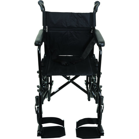 Compass Health: ProBasics Aluminum Transport Chair with 12-Inch Wheels, 300 lb Weight Capacity, 1/cs - TCA191612BK Front View