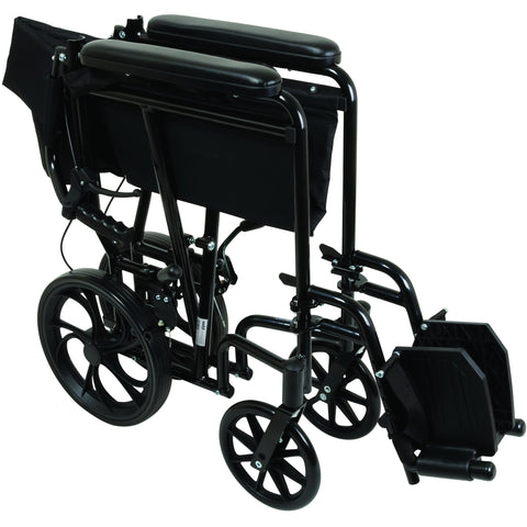 Compass Health: ProBasics Aluminum Transport Chair with 12-Inch Wheels, 300 lb Weight Capacity, 1/cs - TCA191612BK Folding View