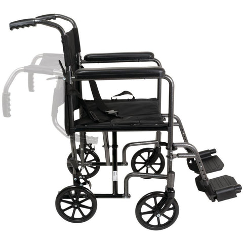 Compass Health: ProBasics Steel Transport Chair - TCS1916SV Movable Push Handle