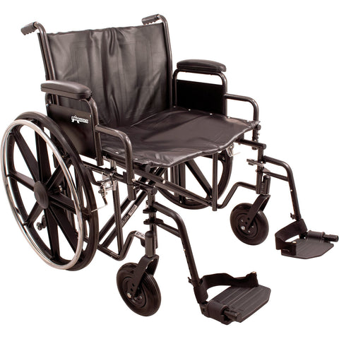 "Compass Health: ProBasics Heavy Duty K0007 Wheelchair, 24"" x 18"" Seat with Footrests, 450 lb Weight Capacity - WC72418DS Main View"