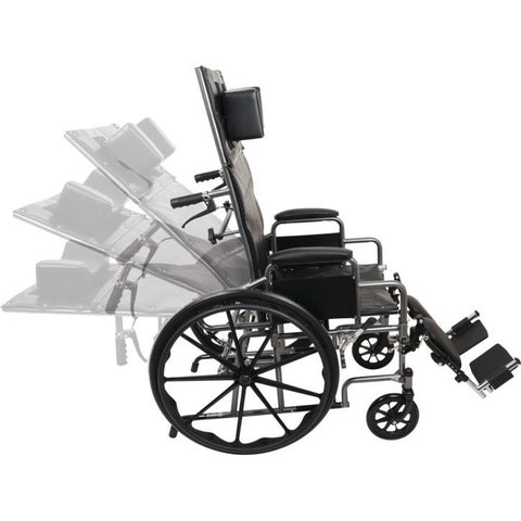 "Compass Health: ProBasics Reclining Wheelchair, 22"" x 17"", Removable Desk Arms & ELRs - WCR2218E Movable Back Seat"