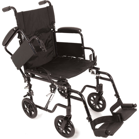 "Compass Health: ProBasics K4 Transformer Wheelchair with 20"" x 16"" Seat, Flip-Back Desk Arms and Swing-Away Footrests - WCT42016DS With Out Rear Wheel"