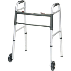 Compass Health: ProBasics Aluminum Two-Button Release Folding Walker With Wheels - WKAAW2B