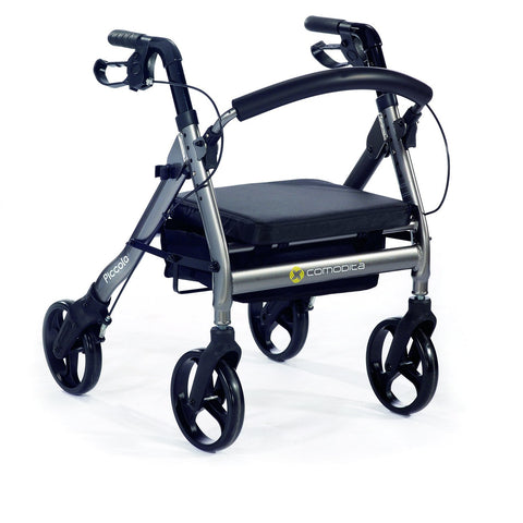Comodita: Piccola Walker Rollator - COM 600 Gray Front Side View