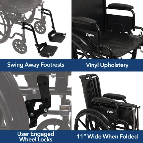 Carex: Probasics K4 High Performance Lightweight Wheelchair with Flip-Back Arms and Seat Extension - WC41616DS - Product View