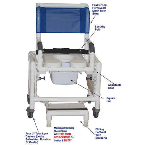 "MJM International: Adjustable Shower Commode Chair Ideal for Adults Seat Height Adjust from 16"" - 25"" fits Patients 5' - 6'3"" - RIO 118-3TL-SFS-SQ-PAIL-SSDE-SADJ-BB-18 - Parts Overview"