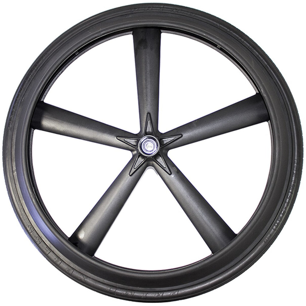 New Solutions: 5 Spoke Mag Wheel (24X1 3/8) Recessed Hub w/ Push Rim and Bearings - RW550