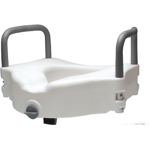 Graham Field: 	Lumex Locking Raised Toilet Seat with Removable Arms in Retail Packaging - 6487RA