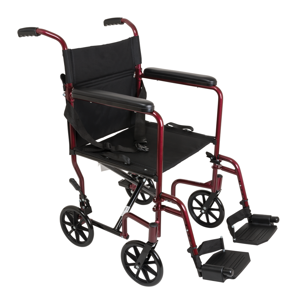 Compass Health: ProBasics Burgundy Aluminum Transport Chair with Footrests - TCA1916BG  Main View
