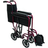Compass Health: ProBasics Burgundy Aluminum Transport Chair with Footrests - TCA1916BG  Folding  View