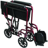 Compass Health: ProBasics Burgundy Aluminum Transport Chair with Footrests - TCA1916BG Fold Push Handle