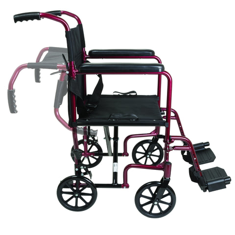 Compass Health: ProBasics Burgundy Aluminum Transport Chair with Footrests - TCA1916BG  Movable push Handle