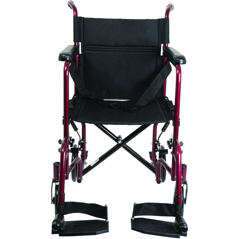 Compass Health: ProBasics Burgundy Aluminum Transport Chair with Footrests - TCA1916BG Front View