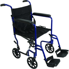 Compass Health: ProBasics Aluminum Transport Chair with Footrests, Blue - TCA1916BL Main View