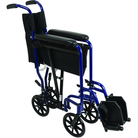 Compass Health: ProBasics Aluminum Transport Chair with Footrests, Blue - TCA1916BL Folding View