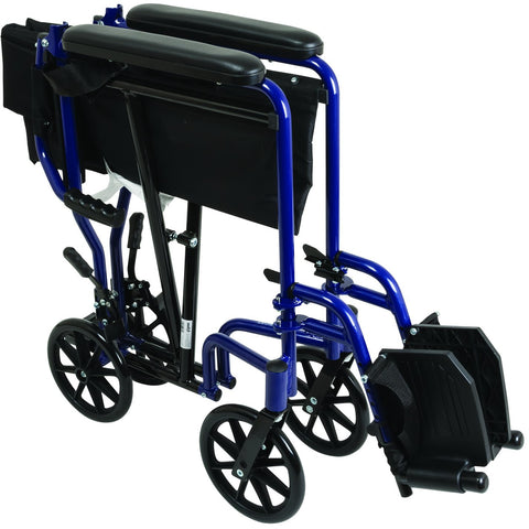 Compass Health: ProBasics Aluminum Transport Chair with Footrests, Blue - TCA1916BL Fold Push Handle