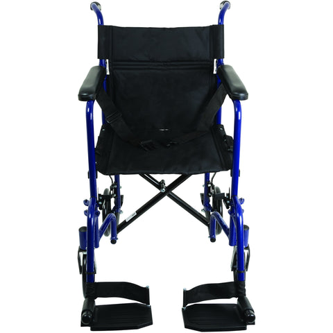 Compass Health: ProBasics Aluminum Transport Chair with Footrests, Blue - TCA1916BL Front View