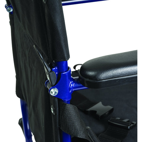 Compass Health: ProBasics Aluminum Transport Chair with Footrests, Blue - TCA1916BL Push Handle Lock