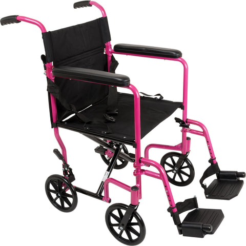 Compass Health: ProBasics Aluminum Transport Chair with Footrests Pink - TCA1916PK  Main View
