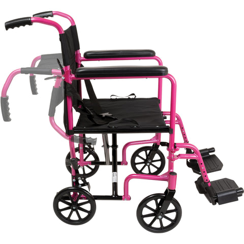 Compass Health: ProBasics Aluminum Transport Chair with Footrests Pink - TCA1916PK Moving Push Handle