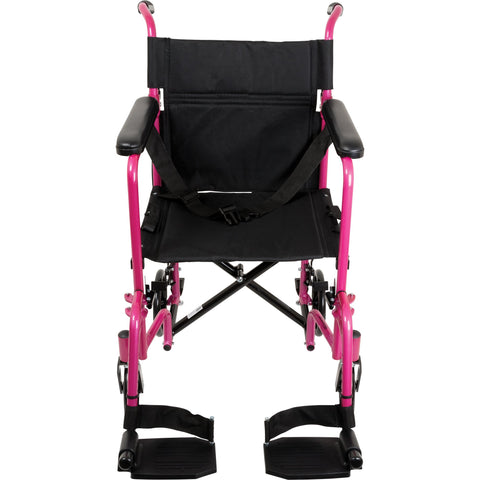 Compass Health: ProBasics Aluminum Transport Chair with Footrests Pink - TCA1916PK  Front View