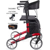 Comodita : Uno Classic Walker Rollator - COM500 Red Side View