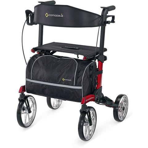 Comodita : Uno Classic Walker Rollator - COM500 Red Front View