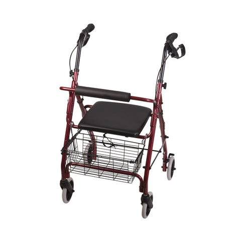 Healthsmart: Dmi® Ultra Lightweight Folding Aluminum Rollator Walker - 501-1012-0700 - Burgundy Color