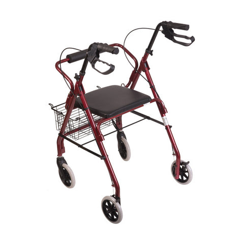 Healthsmart: Dmi® Ultra Lightweight Folding Aluminum Rollator Walker - 501-1012-0700 - Front View - Brake