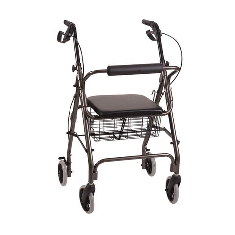 Healthsmart: Dmi® Ultra Lightweight Folding Aluminum Rollator Walker - 501-1012-0700 - Black Actual Image