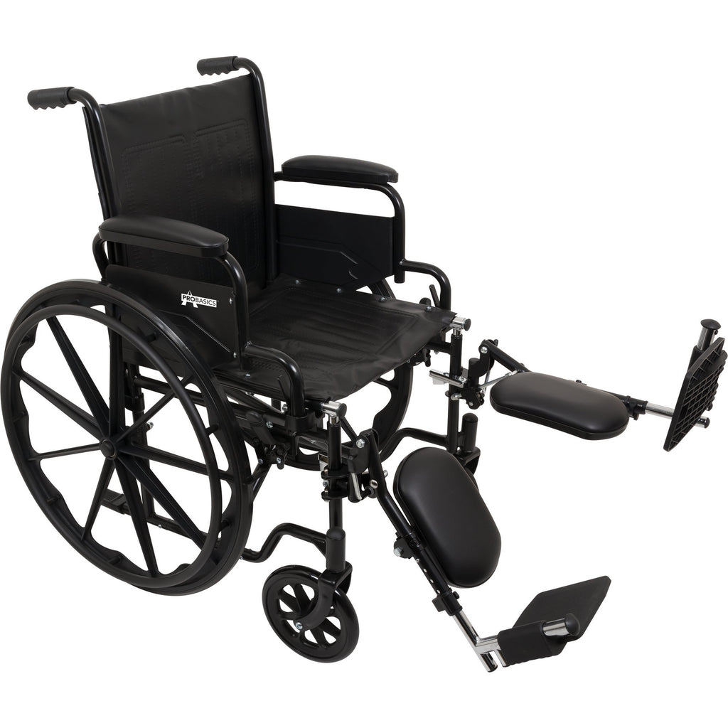 "Compass Health: ProBasics K1 Wheelchair with 18"" x 16"" Seat, Flip-Back Desk Arms, Elevating Legrests - WC11816DE  Main View"