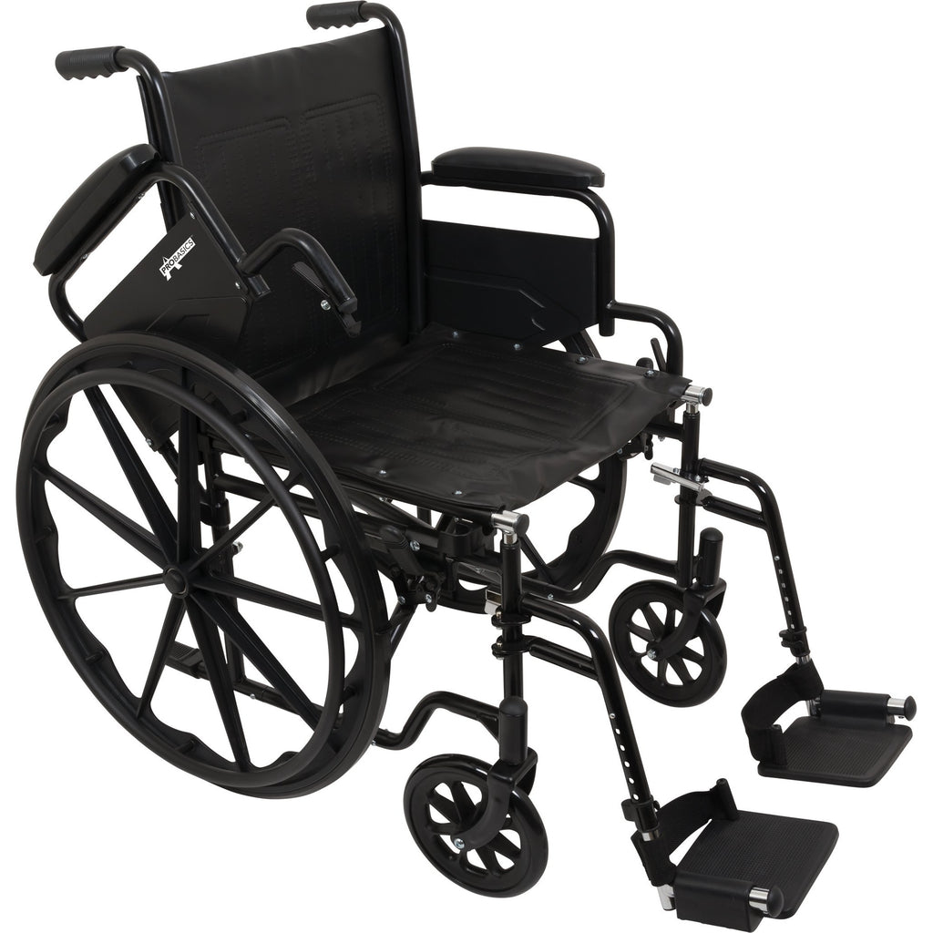 "Compass Health: ProBasics K1 Lightweight Wheelchair with 20"" x 16"" Seat, Flip-Back Desk Arms, Swing-Away Footrests - WC12016DS Removable Arms rest"
