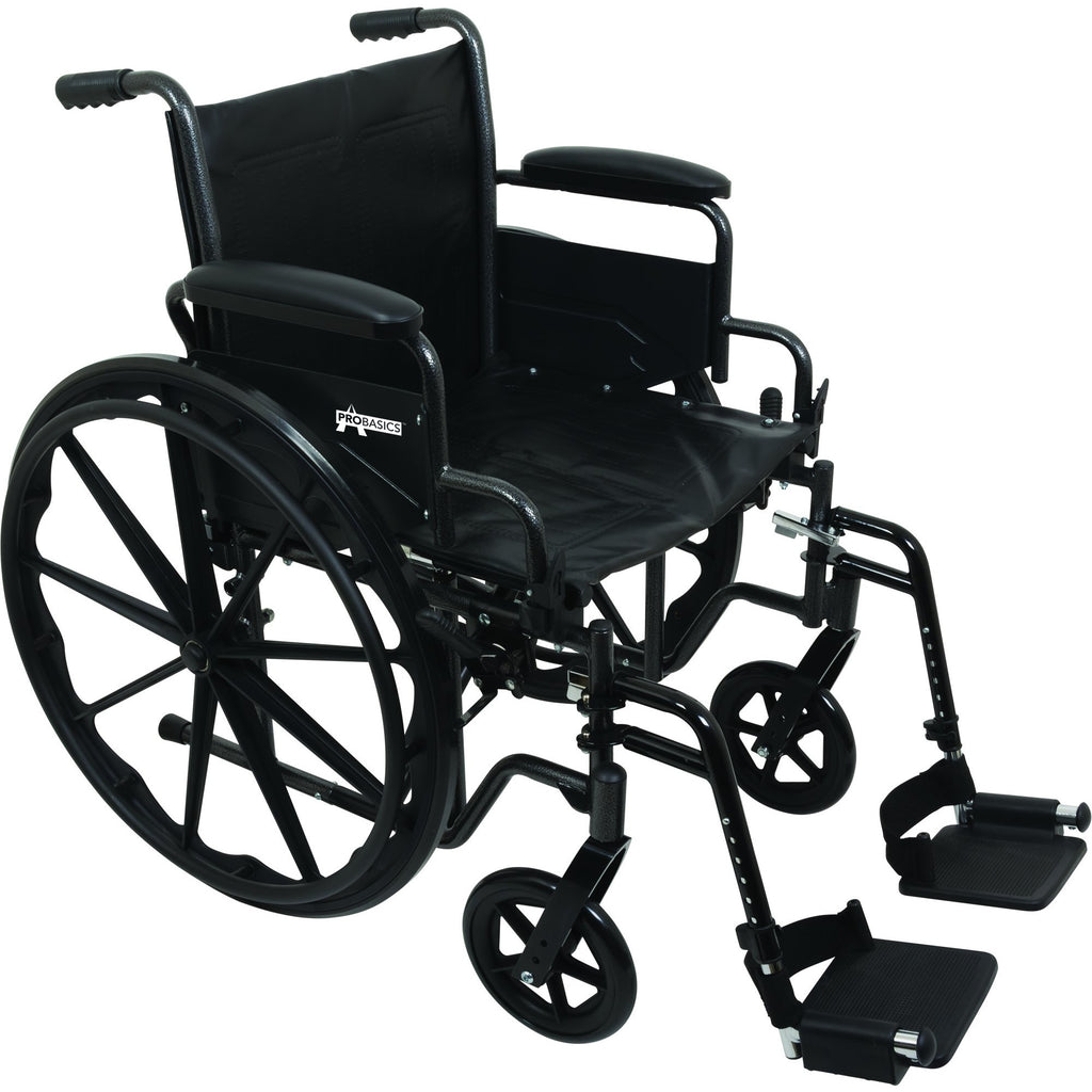 "Compass Health: ProBasics K2 Wheelchair with 20"" x 16"" Seat and Swing-Away Footrests - WC22016DS Main View"