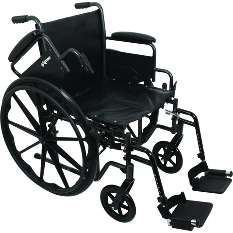 "Compass Health: ProBasics K2 Wheelchair with 18"" x 16"" Seat and Swing-Away Footrests - WC21816DS With Arms rest"