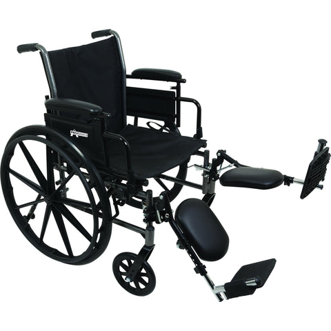 "Compass Health: ProBasics K3 Lightweight Wheelchair with 16"" x 16"" Seat, Flip-Up Height Adj Desk Arms, Elevating Legrests - WC31616DE Main View"